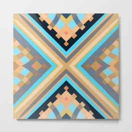 Elegant Retro Art Deco Vibes Geometric Structure Pattern Metal Print