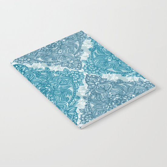 Teal & White Lace Pencil Doodle Notebook