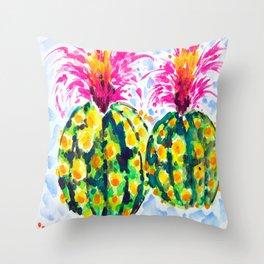 Crazy Hair Day Cactus Throw Pillow