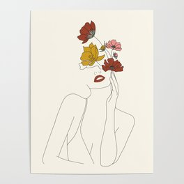 Colorful Thoughts Minimal Line Art Woman with Flowers Poster