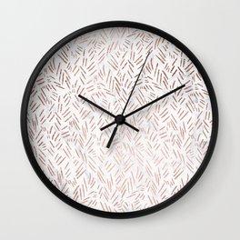 Modern rose gold brushstrokes dots confetti geometric pattern on white marble Wall Clock