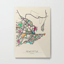 Colorful City Maps: Newcastle, Australia Metal Print