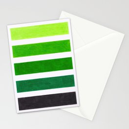 Colorful Green Stripes Stationery Cards