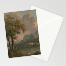Abraham Pether - Wooded Hilly Landscape (1785) Stationery Cards