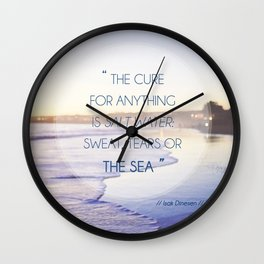 Salt Water Quote, Ocean Photography Wall Clock