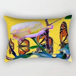 MONARCH BUTTERFLIES & ROSE ABSTRACT Rectangular Pillow