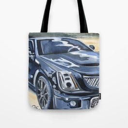 Black on Black {Cadillac CTS Painting} Tote Bag
