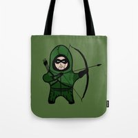 green arrow Tote Bags featuring Green Arrow by YiannisTees
