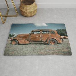 Rusty Classic Car Profile Junk Yard Vintage Automobile Rug