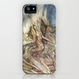 Arthur Rackham - Siegfried and the Twilight of the Gods (1911) - Brunnhilde leaps onto the pyre iPhone Case
