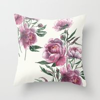 peony Throw Pillows featuring peony by Dao Linh
