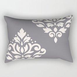 Scroll Damask Art I Cream on Grey Rectangular Pillow
