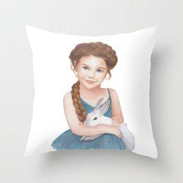 Little girl stroking  bunny Throw Pillow