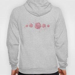 Pink Roses on Dots Basket Weave Hoody
