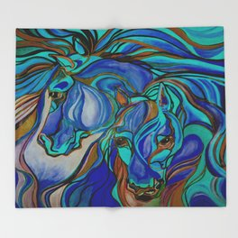 Wild Horses In Brown and Teal Throw Blanket