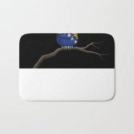 Baby Owl with Glasses and Bosnian Flag Bath Mat