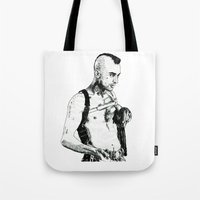 taxi driver Tote Bags featuring Taxi Driver by Art & Ink
