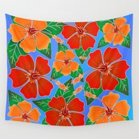 batik Wall Tapestries featuring Hibiscus Batik Pattern by BluedarkArt