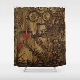 Steampunk Manufactured Love Shower Curtain