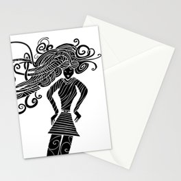 Long hair woman silhouette Stationery Cards
