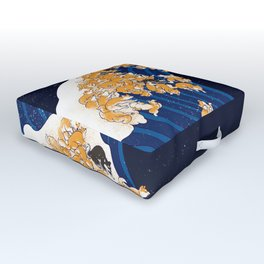 Shiba Inu The Great Wave in Night Outdoor Floor Cushion