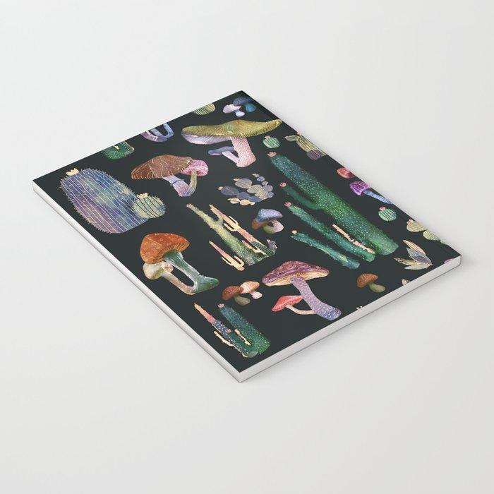 Black cactus and Mushrooms Notebook
