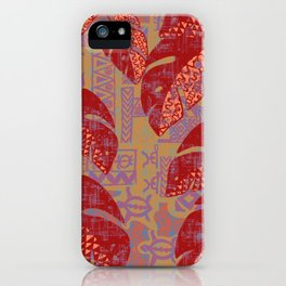 Hawaiian Lava Leaves Tapa Print iPhone Case