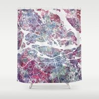 stockholm Shower Curtains featuring STOCKHOLM #2 by MapMapMaps.Watercolors