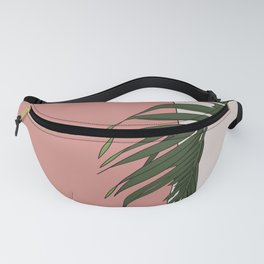 Palm tree branch and pink wall Fanny Pack