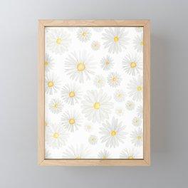 white daisy pattern watercolor Framed Mini Art Print