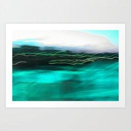 Aqua Harbour Lights Art Print