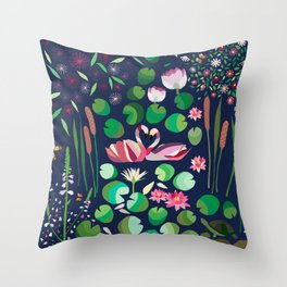Pond Affair in color Throw Pillow
