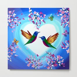 Hummingbirds and Cherry Blossoms with Butterflies Metal Print