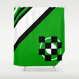 Simplicity - Green, black and white, geometric, abstract Shower Curtain