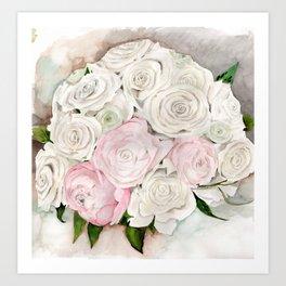 Roses Peony Ranunculus Flowers Art Print