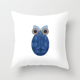 The Denim Owl Throw Pillow
