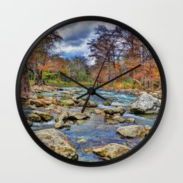 Guadalupe River In Autumn Wall Clock