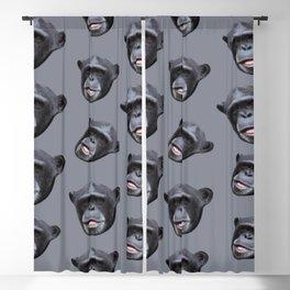 jungle animal ape grey and black chimpanzee Blackout Curtain