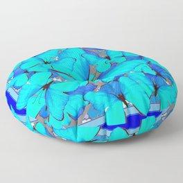 Shades of Turquoise Blue Butterflies Swarming Art Floor Pillow