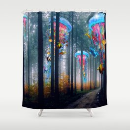 Forest of Super Electric Jellyfish Worlds Shower Curtain