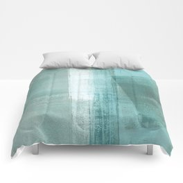Turquoise Aqua Taupe Geometric Abstract Painting 3 Comforters