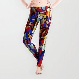 Abstract laberinto red blue Leggings