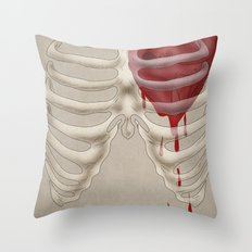 Bleeding Heart and Ribs Throw Pillow