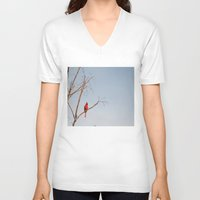 cardinal V-neck T-shirts featuring Cardinal by Emily Lewin