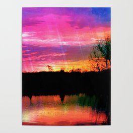 Watercolor January Texas Sunrise Poster