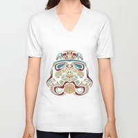 ethnic V-neck T-shirts featuring Ethnic Troopers by trevacristina