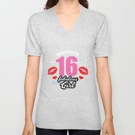 16th birthday Gift Idea women girls pink kiss lip Unisex V-Neck