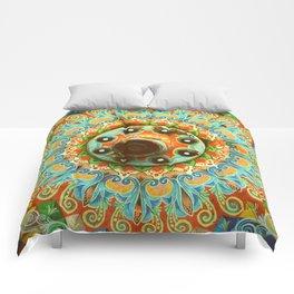Rainbow Painted Cart Wheel Mandala Comforters