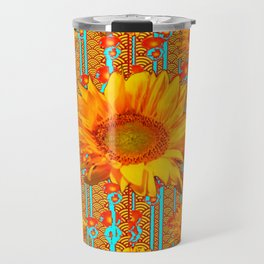Coffee Brown Sunflower Pattern Orange & Turquoise Travel Mug