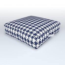 PreppyPatterns™ - Modern Houndstooth - navy blue and white Outdoor Floor Cushion